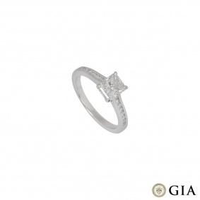 White Gold Radiant Cut Diamond Ring 1.01ct H/SI1